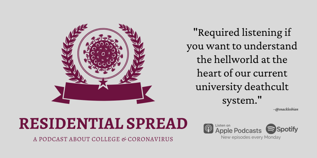 "residential spread logo with review pull quote: ""required listening if you want to understand the hellworld at the heart of our current university deathcult system."""